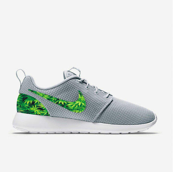 ... triangle blue green custom wolf grey weed leafs marijuana nike roshe run  shoes fabric pattern mens ...