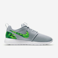 Custom Wolf Grey Weed Leafs Marijuana Nike Roshe Run Shoes Fabric Pattern Men's Birthday Present, Perfect Gift, Customized Nike Shoes