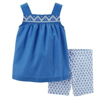 Carter's Babydoll Poplin Tank & Bike Shorts Set - Baby Girl, Size: