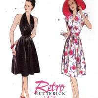 40s Retro dress pattern 1947 halter or day dress re issue sewing pattern Butterick 5209 Sz 6 to 12 UNCUT
