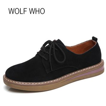 WOLF WHO 2018 Sping Women Leather Shoes Female Suede Oxfords Ladies Platform Sneakers Women Flats Tenis Femininos Casual H-173