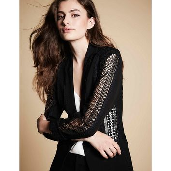 Mika Mindel Tyra Tailored Jacket with Lace Embroidery | Dillards