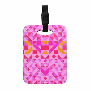 "Vasare Nar ""Candy Geometric"" Pink Geometric Decorative Luggage Tag"