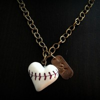 LOVE IS BASEBALL HEART NECKLACE