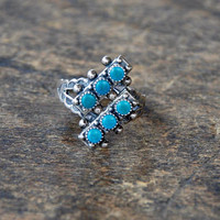 Vintage Turquoise Ring 925 Sterling Silver Petit Point Southwest Native American Size 5.5 1960's // Vintage Sterling Silver Jewelry