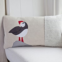 Handmade Puffin Cushion with wool woven in Wales