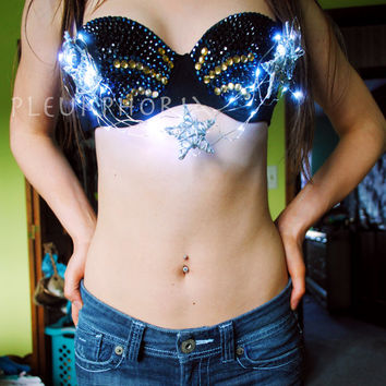 Custom LED Starlight Bejeweled Rave Bra, US free shipping