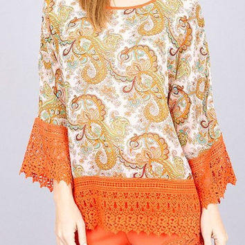 Eliza Bella for Umgee Vintage Hippie-Chick Bohemian Bell Sleeve Blouse SML
