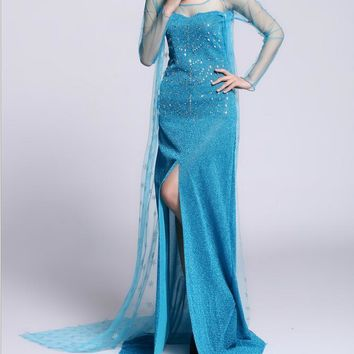 Clearance sale elsa costume adult princess elsa dress cosplay halloween costume for women snow queen cosplay Party Formal Dress