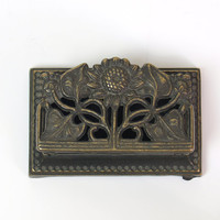 vintage small brass floral storage // made in Italy // bronze ring holder