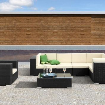 2017 Sofa Furniture Living Room Mateus Outdoor Wicker 6 pc Modular Sectional Sofa