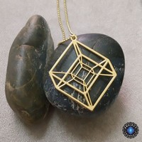 Tesseract Hypercube Sacred Geometry Pendant Necklace