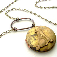 Brass Wolf Locket Necklace