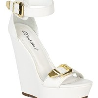 Breckelles BB15 Women Leatherette Open Toe Buckles Ankle Strap Platform Wedge Sandal - White (Size: 10)