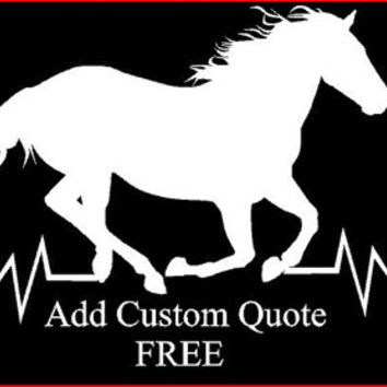 Horse Heartbeat Vinyl Window Car Truck Decal Car Vinyl Sticker Personalized Quote Decals Customized Decals Vinyl Wild Horse Decal horses