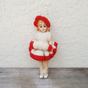 Vintage Hard Plastic Doll / Small Redheaded Doll / PMA Duchess Doll / 1940s 1950s Travel Doll / Doll in White and Red Outfit