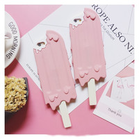 New 3D silicon pink cool Ice cream phone case for iphone 5 5S SE 6 6s 6plus 6splus 4.7inch 5.5inch rubber case covers -0325