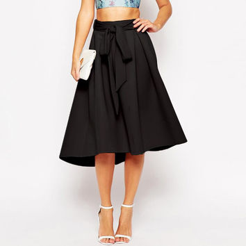 Bow Tie Waist Pleated A-line Midi Skirt