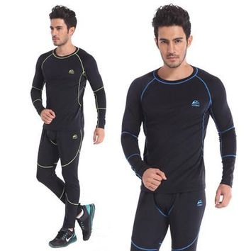 Top quality new thermal underwear men's underwear sets compression hot fleece sweat quick drying thermo underwear men clothing