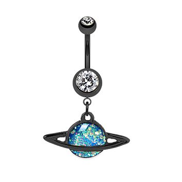 Black Saturn Planet Opal WildKlass Belly Button Ring