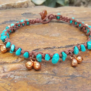 Brown Hemp Anklet, Copper Bell Anklet, Natural Jewelry, Turquoise Howlite, Jewelry, Handmade, Anklet, Bell Anklet, Beach Jewelry, Gift, Hemp
