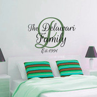 Wall Decals Quote The Delawari Family Decal Vinyl Sticker Script Monogram Bedroom Kitchen Dorm Interior Design Home Decor Art Murals MN467