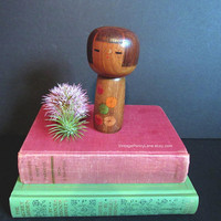 Vintage Japanese Kokeshi Doll, Tole Painted Wood Figure