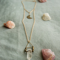MOON CHILD PENDANT - Tibetan Quartz Point Brass Moon Charm - Charlie Girl Gems