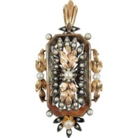 Rare 1870s 18K solid rose gold and 950 silver brooch, French stamped gold and pearl jewelry,  Filigree gold leaf pendant