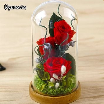 Kyunovia Valentine's Day Glass Cover Fresh Preserved Rose Flower Beautiful Mother birthday gift Wedding Home Decoration KY77