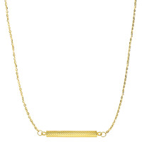 14K Yellow Gold Textured Hollow Cylinder Bar Sideways Pendant On 18 Inch Necklace