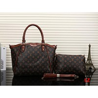 Louis Vuitton LV Women Shopping Leather Satchel Handbag Crossbody Shoulder Bag Two Piece Set