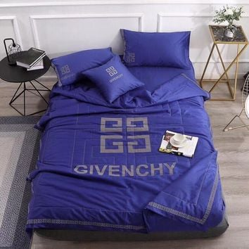 Luxury GIVENCHY Designer Home Blanket Quilt coverlet 2 Pillows Shams 4 PC Bedding Set