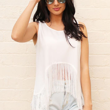 Sleeveless Curve Hem Vest Top with Fringe Edge in Soft Cream