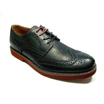 GBX Mens Zevon Lace Up Wing Tip Oxford Black Leather Dress Shoes