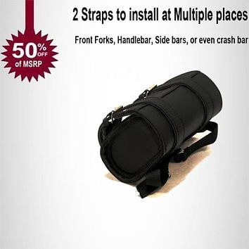 Motorcycle Tool Bag Black synthetic leather water resistant