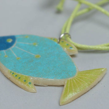 Handmade designer beautiful polymer clay pendant with print Fish on long cord
