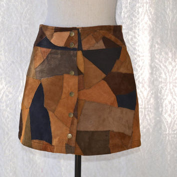 Late 80s/Early 90s FREE PEOPLE Suede Leather Patchwork Mini Skirt/ Button Down Snaps GoGo Mini Skirt. Boho Hippie Festival High Waist Mini