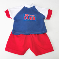 Bitty Baby Boy Clothes, also fits 18 inch dolls, Baseball Fan, Chicago, T shirt, Shorts, Blue & White Red, 2 pc outfit, adorabledolldesigns