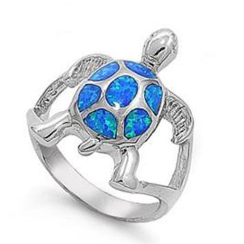 Sterling Silver Turtle 21MM Blue Lab Opal Ring
