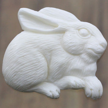 Carved Bone, Bunny - Rabbit Hare, Good Luck Charm, Animal Charms, Hand Carvings for Jewelry, Necklace, Pendant, Bracelet and Collectors