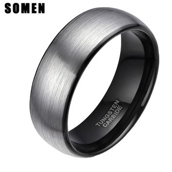 8mm Vintage Men's Tungsten Carbide Ring Black Inlay Wedding Band Male Engagement Rings Fashion Anel Masculino Christmas Gift