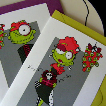 Zombie Cute Holiday CardsUnder the Miseltoes Set of by littletoad