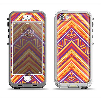 The Red, Yellow and Purple Vibrant Aztec Zigzags Apple iPhone 5-5s LifeProof Nuud Case Skin Set