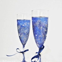 Space Galaxy Wedding Glasses Hand Painted set of 2 Glitter effect Swarovski Crystals Royal Blue wedding