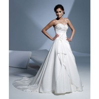 Charming sleeveless A-line floor-length wedding dress