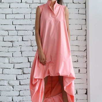 SALE Maxi Dress/Asymmetric Loose Dress/Pink Kaftan/Extravagant Long Tunic/Pink Maxi Dress/Plus Size Maxi Dress/Pink Oversize Tunic/Sleeveles