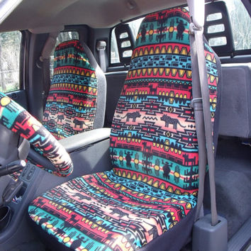 1 Set Of Bright Tribal Stripe Print, Seat Covers and the Steering Wheel Cover  Custom made.