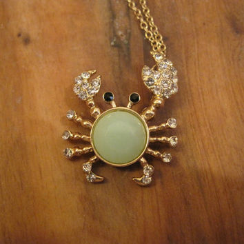Rhinestone Seafoam Crab Necklace - Crab Charm Necklace