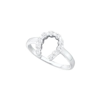 10kt White Gold Womens Round Diamond Simple Lucky Horseshoe Ring 1/20 Cttw 29431